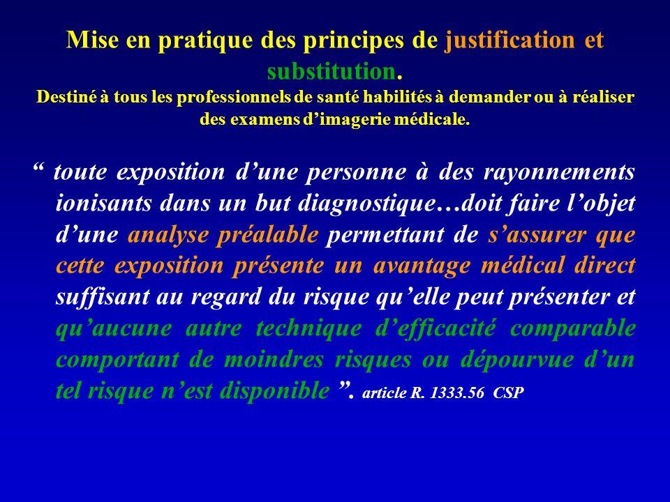 Mise en pratique des principes de justification et substitution. Destiné à tous les professionnels de santé habilités à demander ou à réaliser des exa