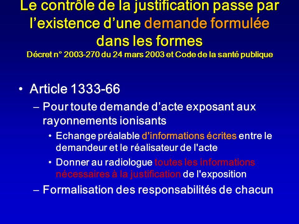 Le contrôle de la justification passe par lexistence dune demande formulée dans les formes Décret n° 2003-270 du 24 mars 2003 et Code de la santé publ