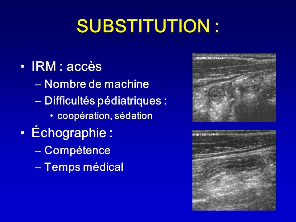 SUBSTITUTION : IRM : accès –Nombre de machine –Difficultés pédiatriques : coopération, sédation Échographie : –Compétence –Temps médical