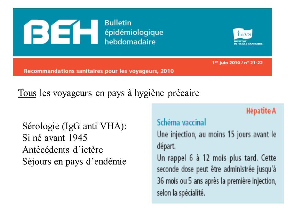 Tous les voyageurs en pays à hygiène précaire Sérologie (IgG anti VHA): Si né avant 1945 Antécédents dictère Séjours en pays dendémie