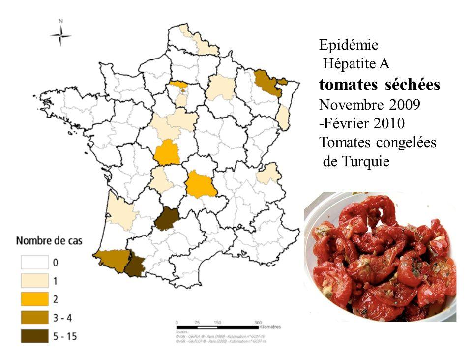 Epidémie Hépatite A tomates séchées Novembre 2009 -Février 2010 Tomates congelées de Turquie