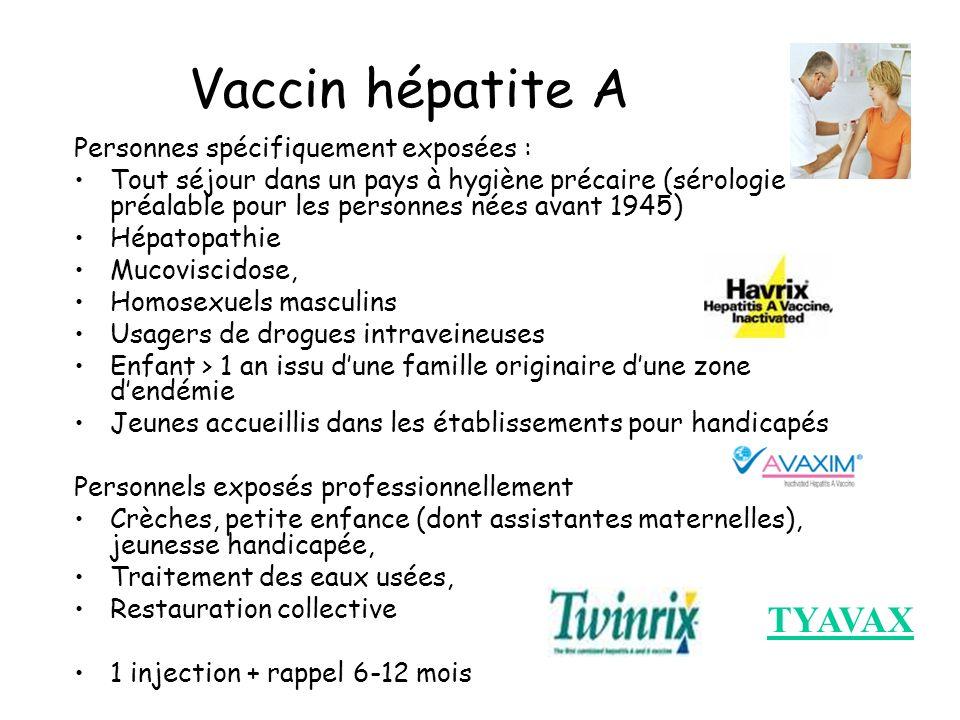 Vaccin hépatite A Personnes spécifiquement exposées : Tout séjour dans un pays à hygiène précaire (sérologie préalable pour les personnes nées avant 1
