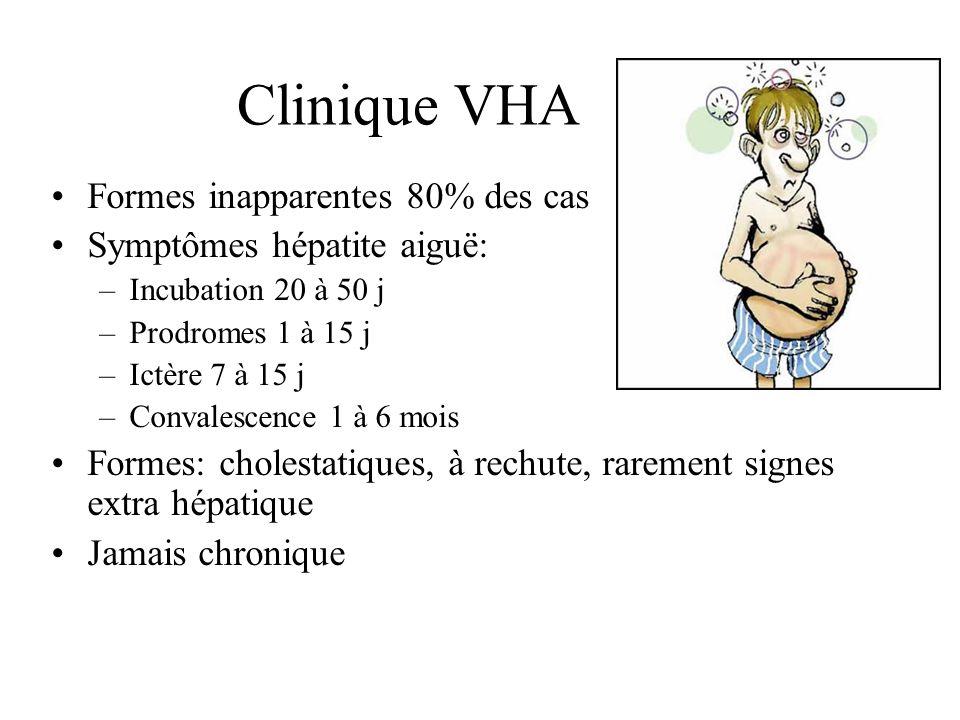 Clinique VHA Formes inapparentes 80% des cas Symptômes hépatite aiguë: –Incubation 20 à 50 j –Prodromes 1 à 15 j –Ictère 7 à 15 j –Convalescence 1 à 6 mois Formes: cholestatiques, à rechute, rarement signes extra hépatique Jamais chronique