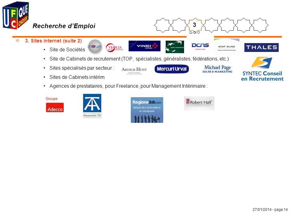 27/01/2014 - page 14 3. Sites internet (suite 2) Site de Sociétés Site de Cabinets de recrutement (TOP, spécialistes, généralistes, fédérations, etc.)