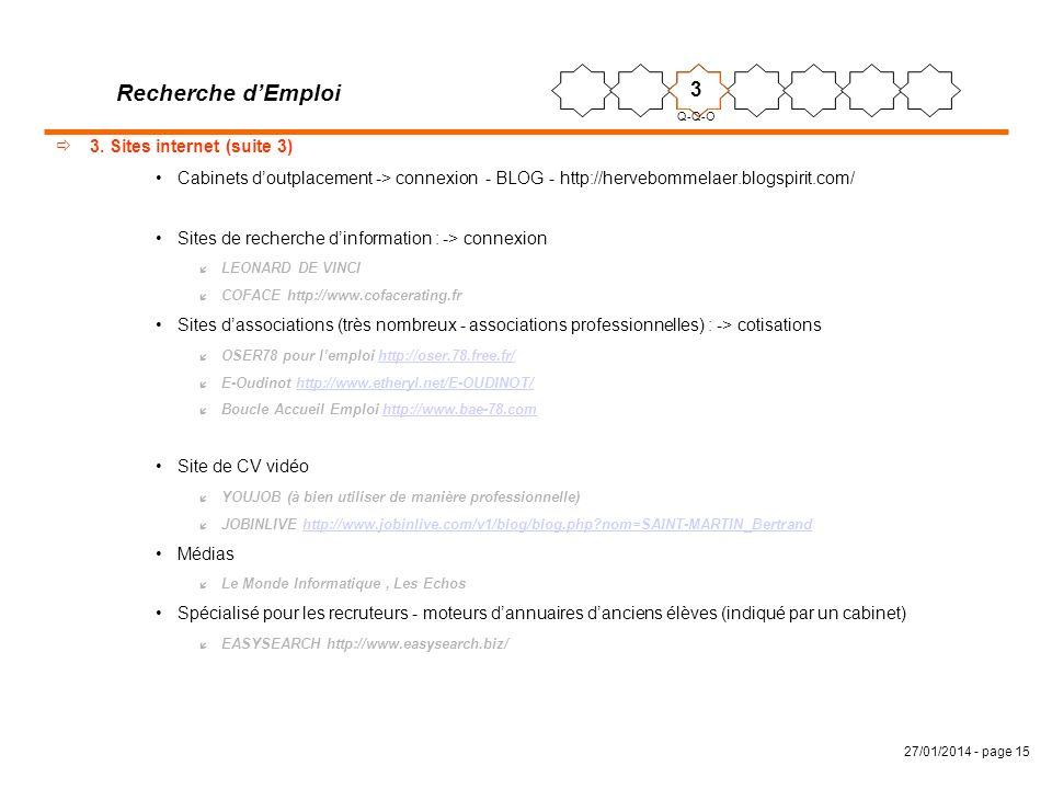 27/01/2014 - page 15 3. Sites internet (suite 3) Cabinets doutplacement -> connexion - BLOG - http://hervebommelaer.blogspirit.com/ Sites de recherche