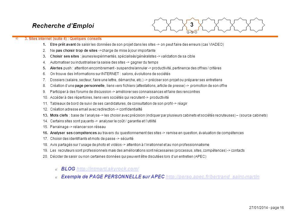 27/01/2014 - page 16 3. Sites internet (suite 4) : Quelques conseils 1.Etre prêt avant de saisir les données de son projet dans les sites -> on peut f