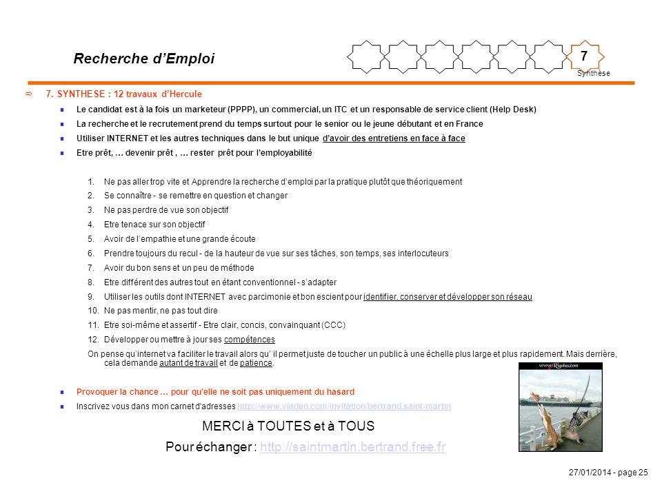 27/01/2014 - page 25 7. SYNTHESE : 12 travaux dHercule n Le candidat est à la fois un marketeur (PPPP), un commercial, un ITC et un responsable de ser