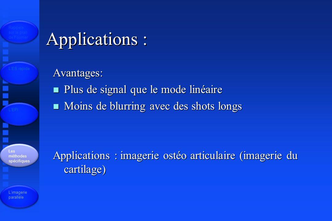 Applications : Avantages: n Plus de signal que le mode linéaire n Moins de blurring avec des shots longs Applications : imagerie ostéo articulaire (imagerie du cartilage) Rappels sur le plan de Fourrier LES rapide LEPI Les méthodes spécifiques Limagerie parallèle