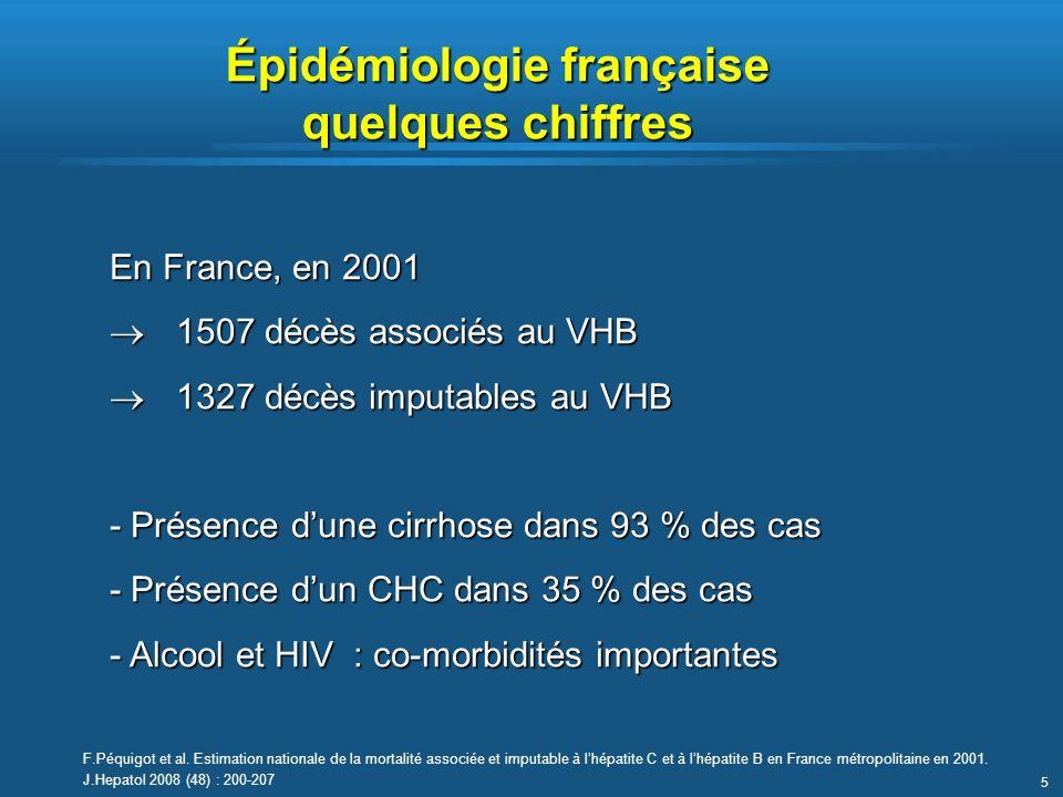 5 En France, en 2001 1507 décès associés au VHB 1507 décès associés au VHB 1327 décès imputables au VHB 1327 décès imputables au VHB - Présence dune c