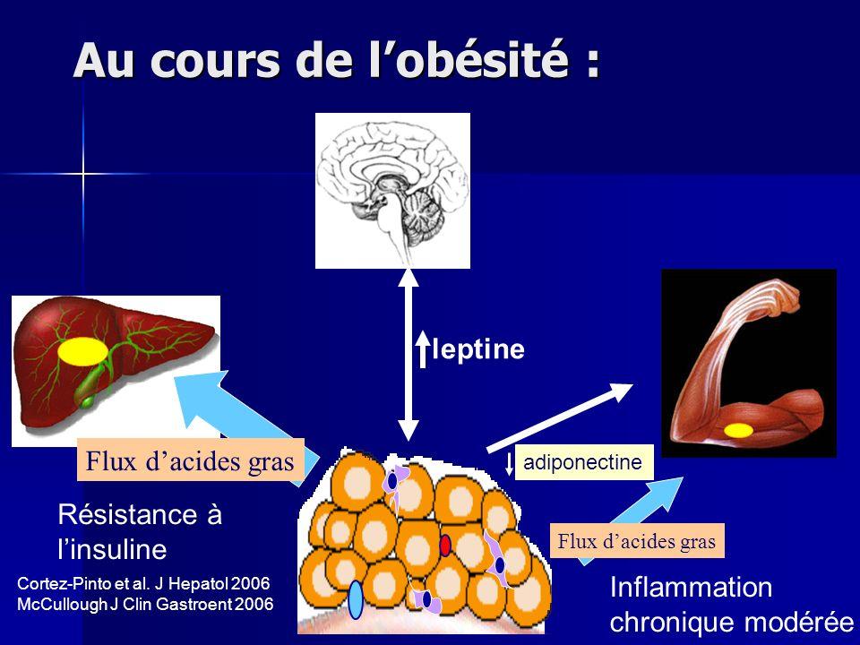 Au cours de lobésité : leptine adiponectine Flux dacides gras Résistance à linsuline Inflammation chronique modérée Cortez-Pinto et al. J Hepatol 2006