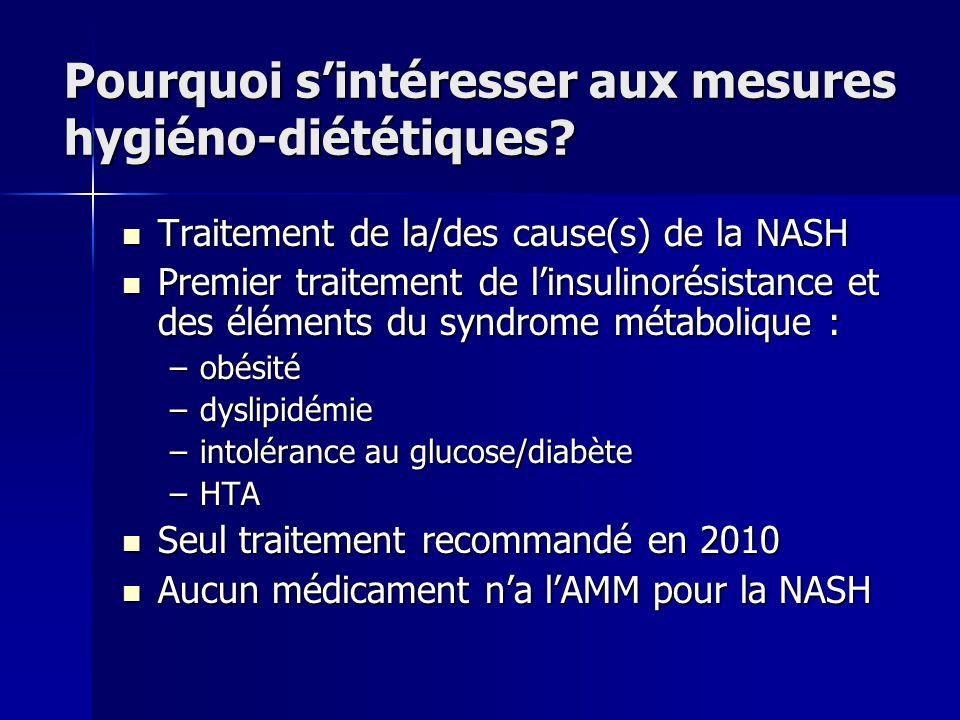 Pourquoi sintéresser aux mesures hygiéno-diététiques? Traitement de la/des cause(s) de la NASH Traitement de la/des cause(s) de la NASH Premier traite