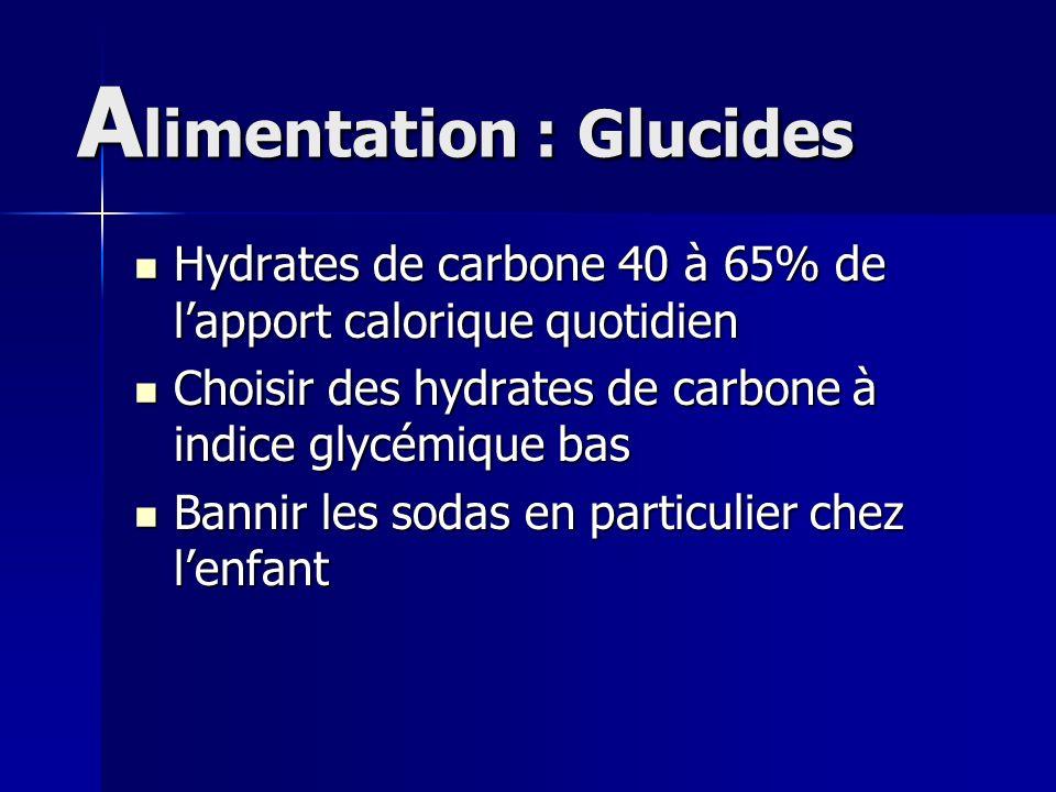 A limentation : Glucides Hydrates de carbone 40 à 65% de lapport calorique quotidien Hydrates de carbone 40 à 65% de lapport calorique quotidien Chois