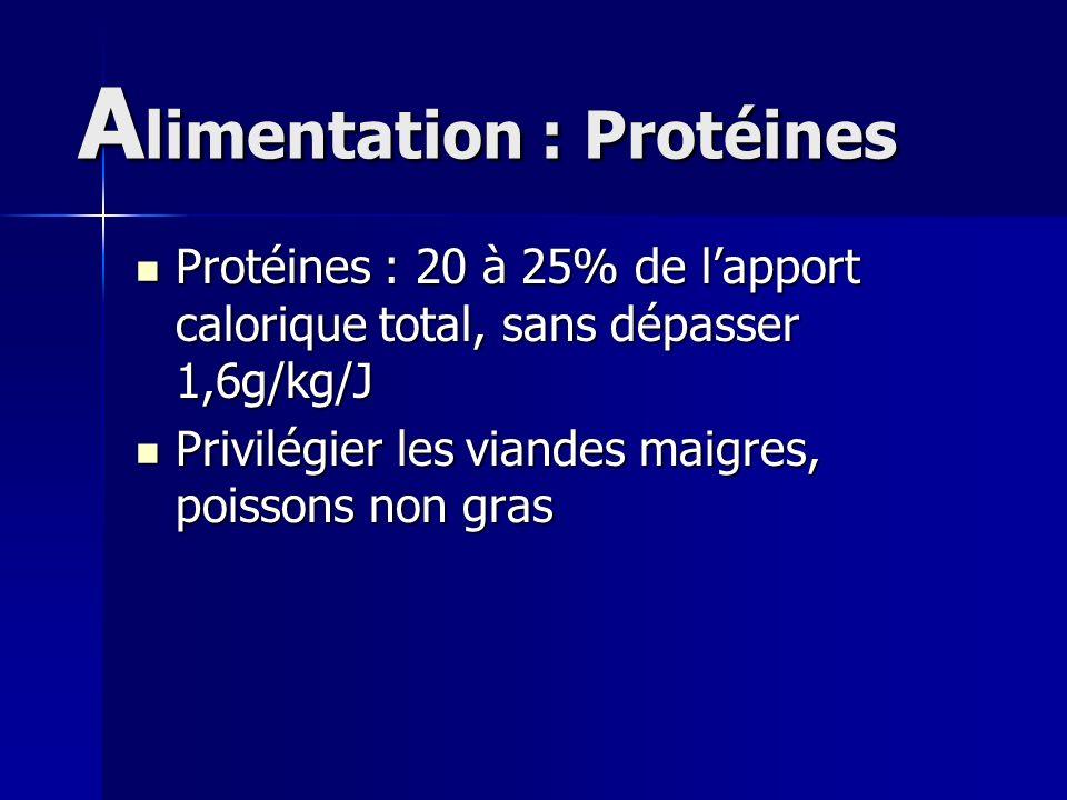 A limentation : Protéines Protéines : 20 à 25% de lapport calorique total, sans dépasser 1,6g/kg/J Protéines : 20 à 25% de lapport calorique total, sa