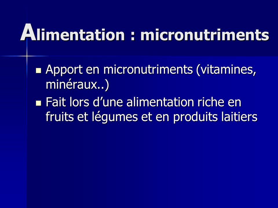 A limentation : micronutriments Apport en micronutriments (vitamines, minéraux..) Apport en micronutriments (vitamines, minéraux..) Fait lors dune ali