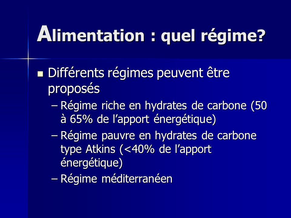 A limentation : quel régime? Différents régimes peuvent être proposés Différents régimes peuvent être proposés –Régime riche en hydrates de carbone (5
