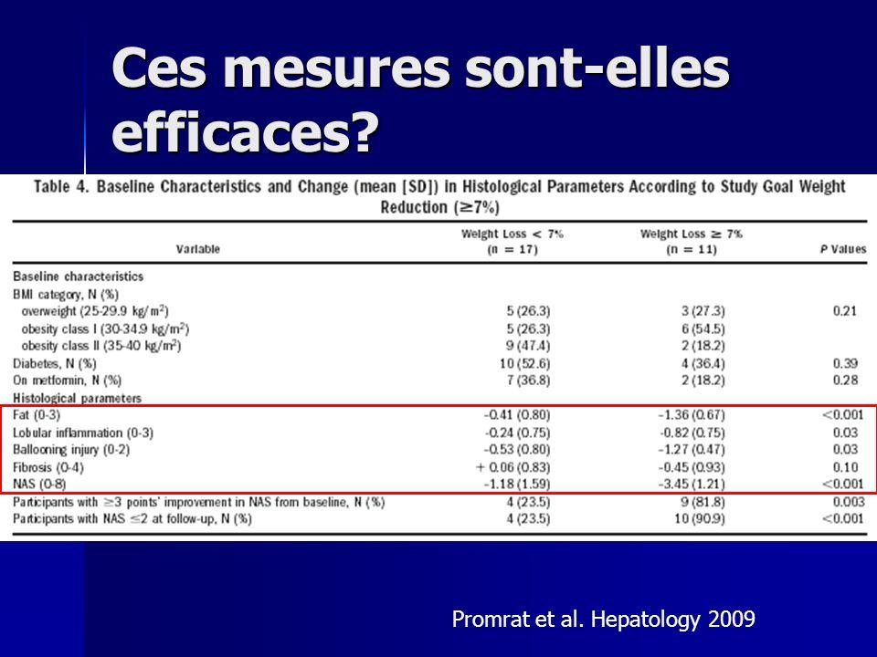 Ces mesures sont-elles efficaces? Promrat et al. Hepatology 2009