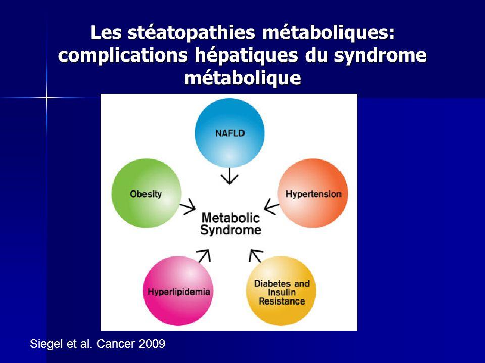 Les stéatopathies métaboliques: complications hépatiques du syndrome métabolique Siegel et al. Cancer 2009