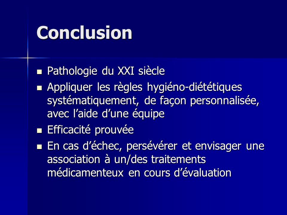 Conclusion Pathologie du XXI siècle Pathologie du XXI siècle Appliquer les règles hygiéno-diététiques systématiquement, de façon personnalisée, avec l