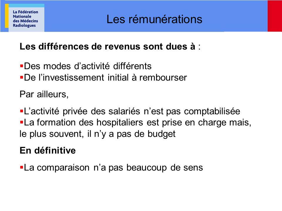 Les rémunérations Les différences de revenus sont dues à : Des modes dactivité différents De linvestissement initial à rembourser Par ailleurs, Lactiv