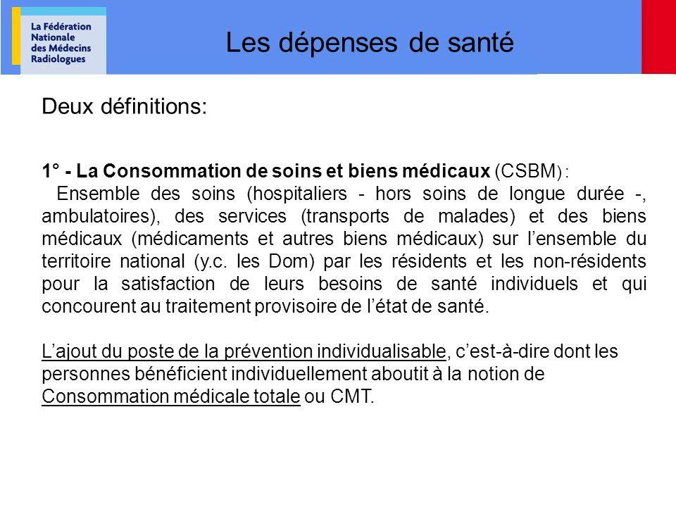 Les dépenses de santé Deux définitions: 1° - La Consommation de soins et biens médicaux (CSBM ) : Ensemble des soins (hospitaliers - hors soins de lon