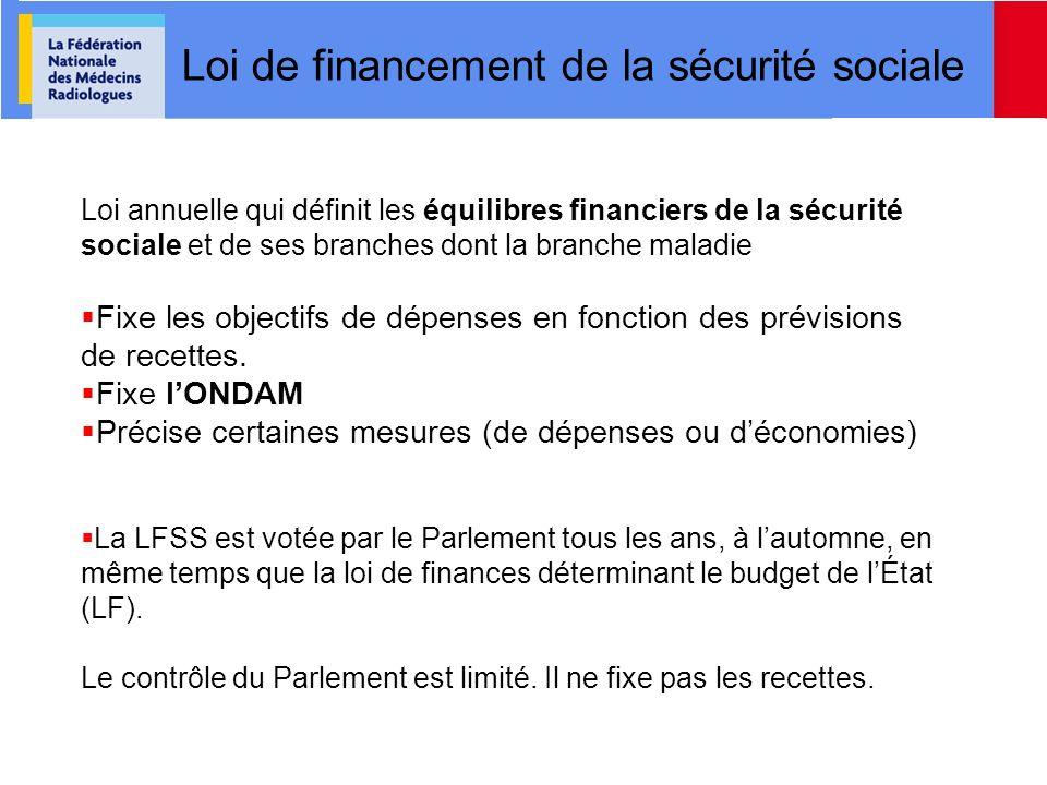 Loi de financement de la sécurité sociale Loi annuelle qui définit les équilibres financiers de la sécurité sociale et de ses branches dont la branche