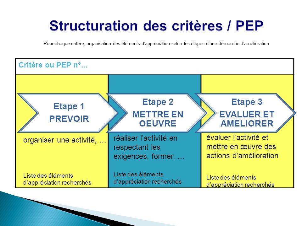 Structuration des critères / PEP Critère ou PEP n°... Etape 1 PREVOIR Etape 2 METTRE EN OEUVRE Etape 3 EVALUER ET AMELIORER Pour chaque critère, organ