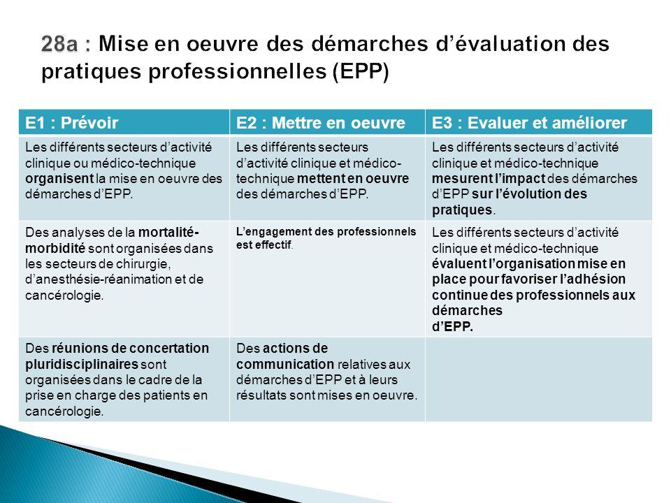E1 : PrévoirE2 : Mettre en oeuvreE3 : Evaluer et améliorer Les différents secteurs dactivité clinique ou médico-technique organisent la mise en oeuvre