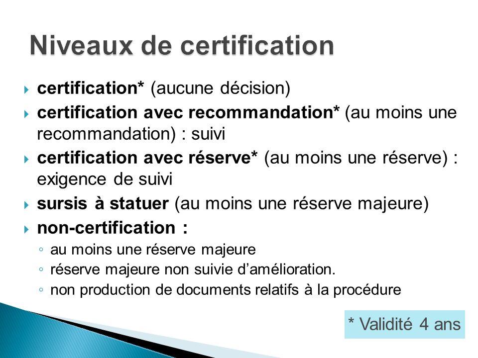 certification* (aucune décision) certification avec recommandation* (au moins une recommandation) : suivi certification avec réserve* (au moins une ré
