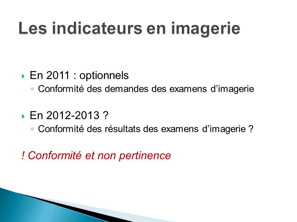 En 2011 : optionnels Conformité des demandes des examens dimagerie En 2012-2013 ? Conformité des résultats des examens dimagerie ? ! Conformité et non