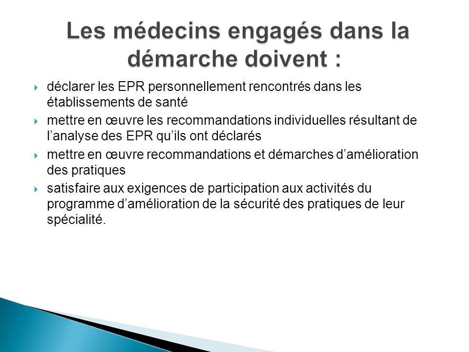 déclarer les EPR personnellement rencontrés dans les établissements de santé mettre en œuvre les recommandations individuelles résultant de lanalyse d