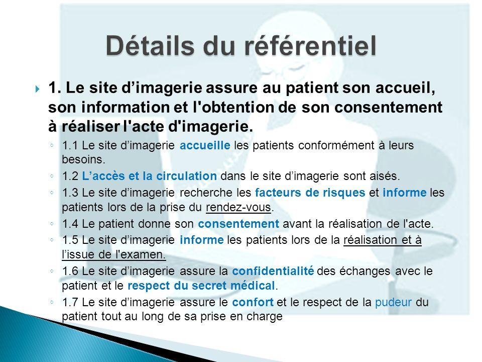 1. Le site dimagerie assure au patient son accueil, son information et l'obtention de son consentement à réaliser l'acte d'imagerie. 1.1 Le site dimag