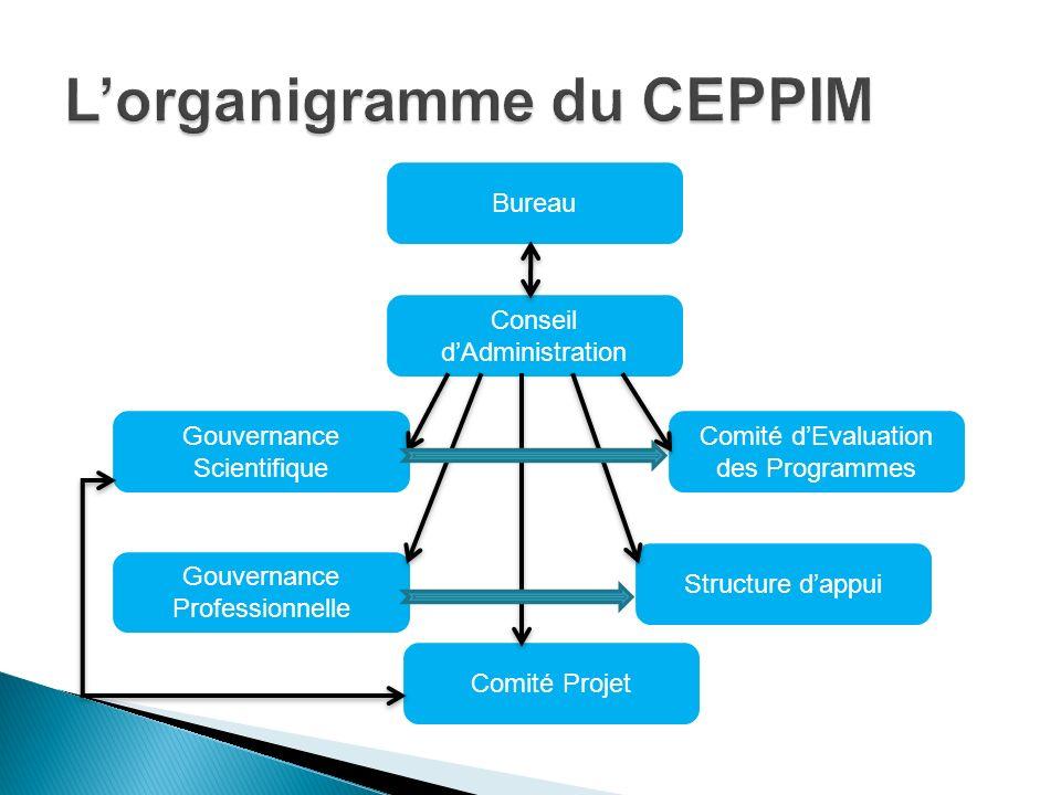 Bureau Conseil dAdministration Gouvernance Scientifique Gouvernance Professionnelle Comité dEvaluation des Programmes Structure dappui Comité Projet