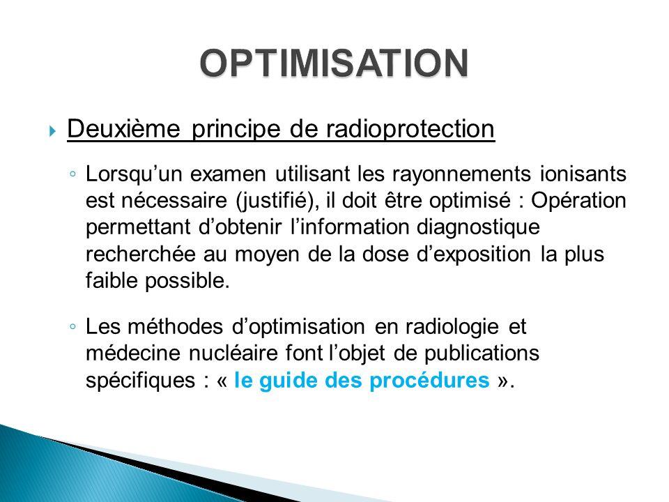 Deuxième principe de radioprotection Lorsquun examen utilisant les rayonnements ionisants est nécessaire (justifié), il doit être optimisé : Opération