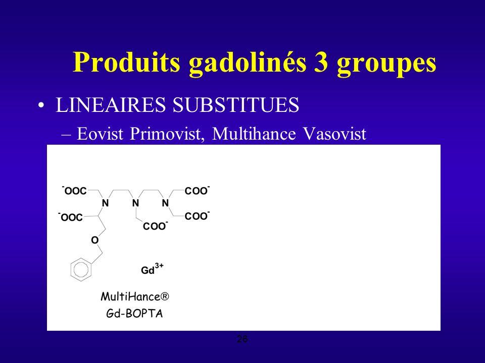 26 Produits gadolinés 3 groupes LINEAIRES SUBSTITUES –Eovist Primovist, Multihance Vasovist