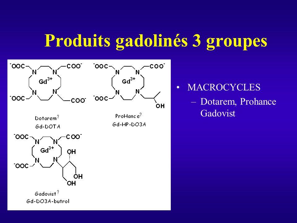 27 Produits gadolinés 3 groupes MACROCYCLES –Dotarem, Prohance Gadovist