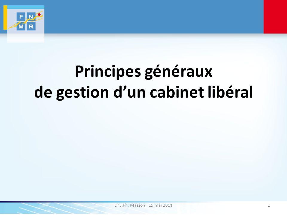 Principes généraux de gestion dun cabinet libéral Dr J.Ph. Masson 19 mai 20111