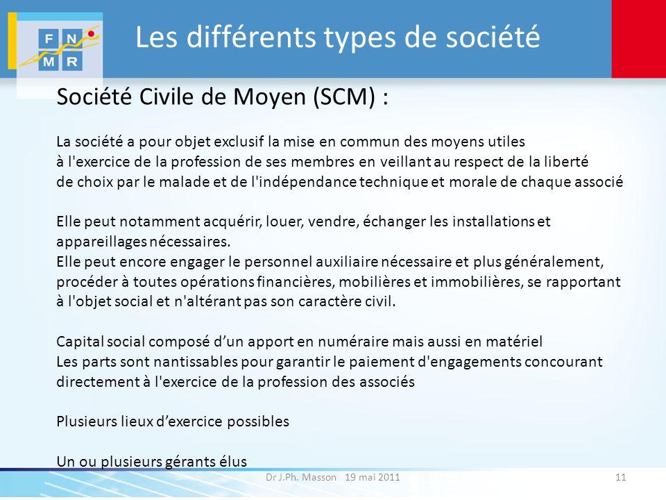 Les différents types de société Dr J.Ph. Masson 19 mai 201111 Société Civile de Moyen (SCM) : La société a pour objet exclusif la mise en commun des m