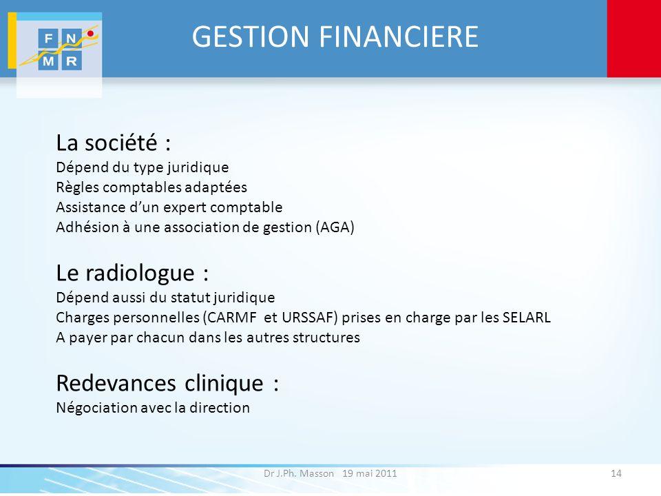 GESTION FINANCIERE Dr J.Ph. Masson 19 mai 201114 La société : Dépend du type juridique Règles comptables adaptées Assistance dun expert comptable Adhé