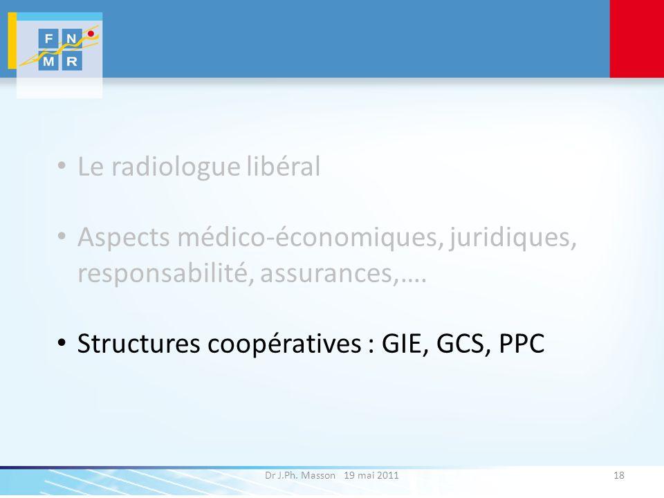 Dr J.Ph. Masson 19 mai 201118 Le radiologue libéral Aspects médico-économiques, juridiques, responsabilité, assurances,…. Structures coopératives : GI