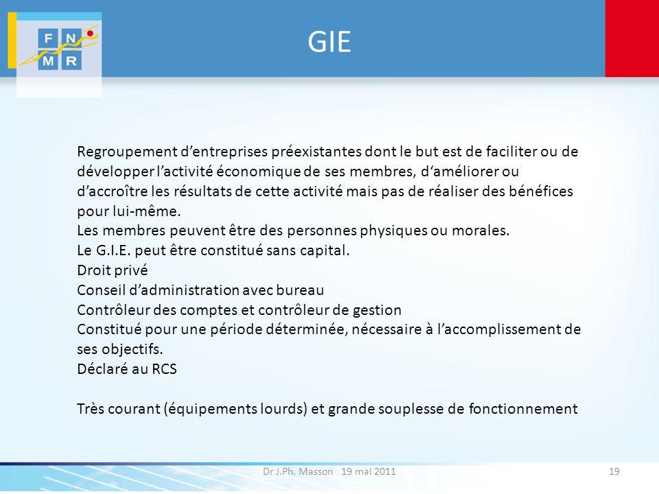 GIE Dr J.Ph. Masson 19 mai 201119 Regroupement dentreprises préexistantes dont le but est de faciliter ou de développer lactivité économique de ses me