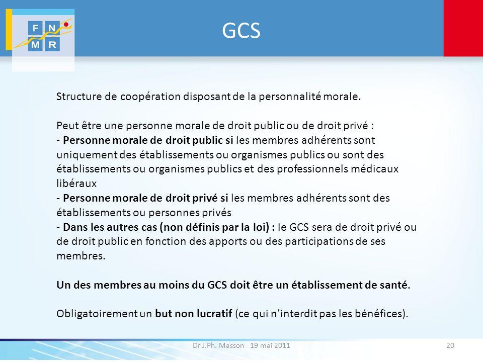 GCS Dr J.Ph. Masson 19 mai 201120 Structure de coopération disposant de la personnalité morale. Peut être une personne morale de droit public ou de dr