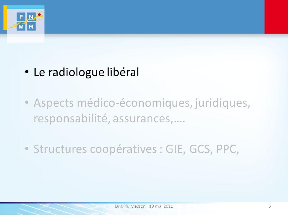 Dr J.Ph. Masson 19 mai 20113 Le radiologue libéral Aspects médico-économiques, juridiques, responsabilité, assurances,…. Structures coopératives : GIE