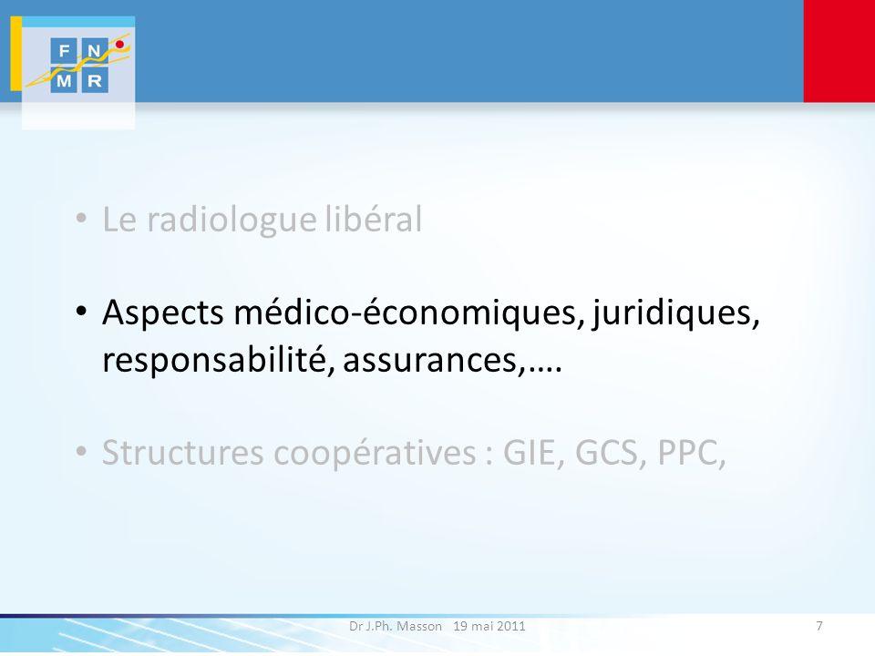 Dr J.Ph. Masson 19 mai 20117 Le radiologue libéral Aspects médico-économiques, juridiques, responsabilité, assurances,…. Structures coopératives : GIE