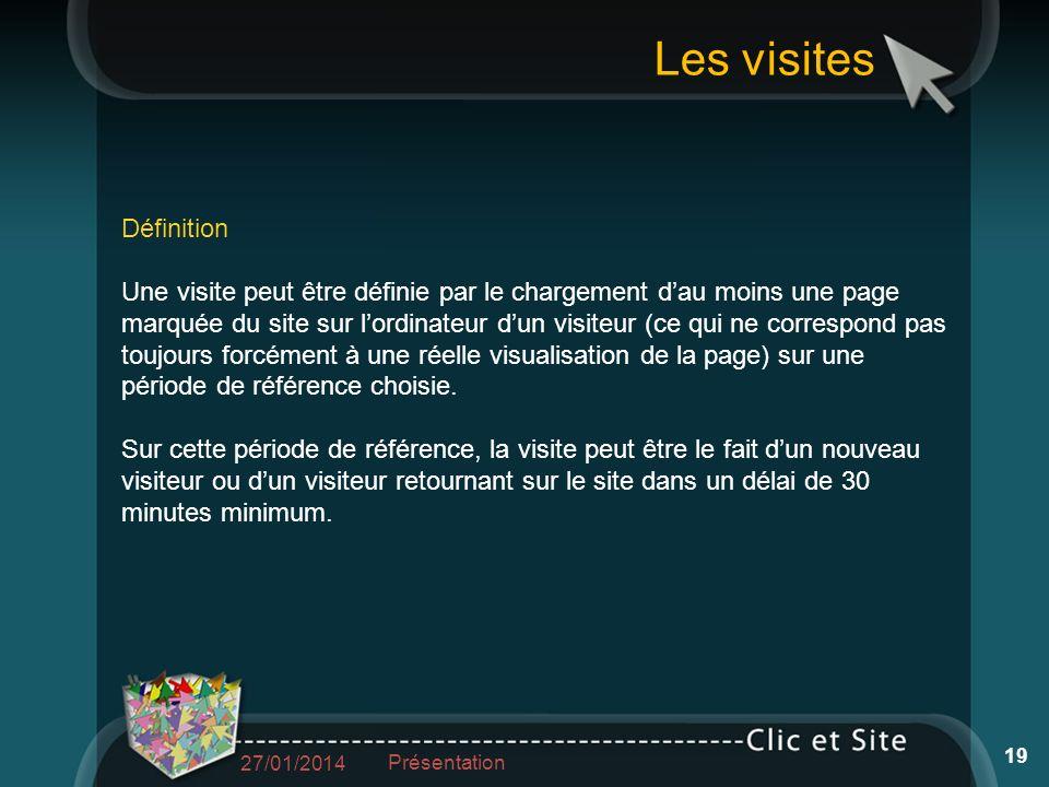 Les visites Définition Une visite peut être définie par le chargement dau moins une page marquée du site sur lordinateur dun visiteur (ce qui ne correspond pas toujours forcément à une réelle visualisation de la page) sur une période de référence choisie.
