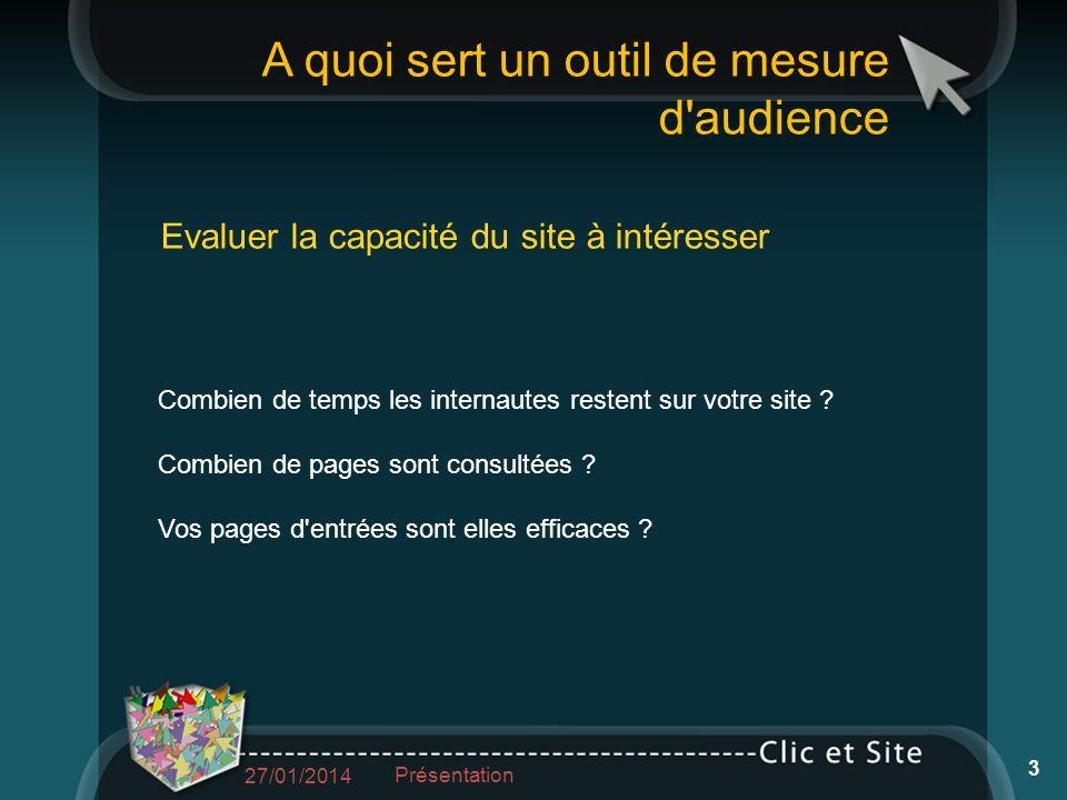 A quoi sert un outil de mesure d audience Evaluer la capacité du site à intéresser Combien de temps les internautes restent sur votre site .