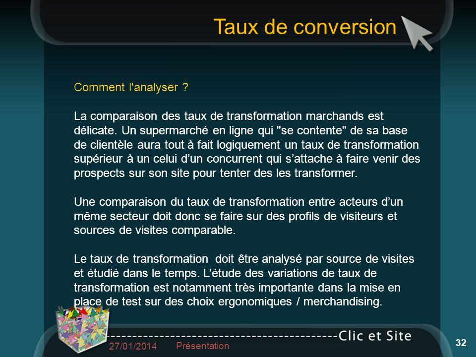 Taux de conversion Comment l'analyser ? La comparaison des taux de transformation marchands est délicate. Un supermarché en ligne qui