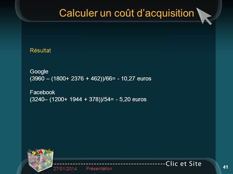 Calculer un coût dacquisition Résultat Google (3960 – (1800+ 2376 + 462))/66= - 10,27 euros Facebook (3240– (1200+ 1944 + 378))/54= - 5,20 euros 27/01/2014 Présentation 41