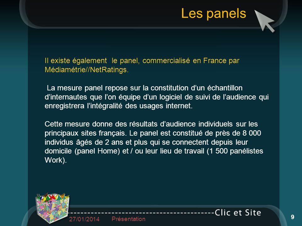 Il existe également le panel, commercialisé en France par Médiamétrie//NetRatings. La mesure panel repose sur la constitution dun échantillon dinterna