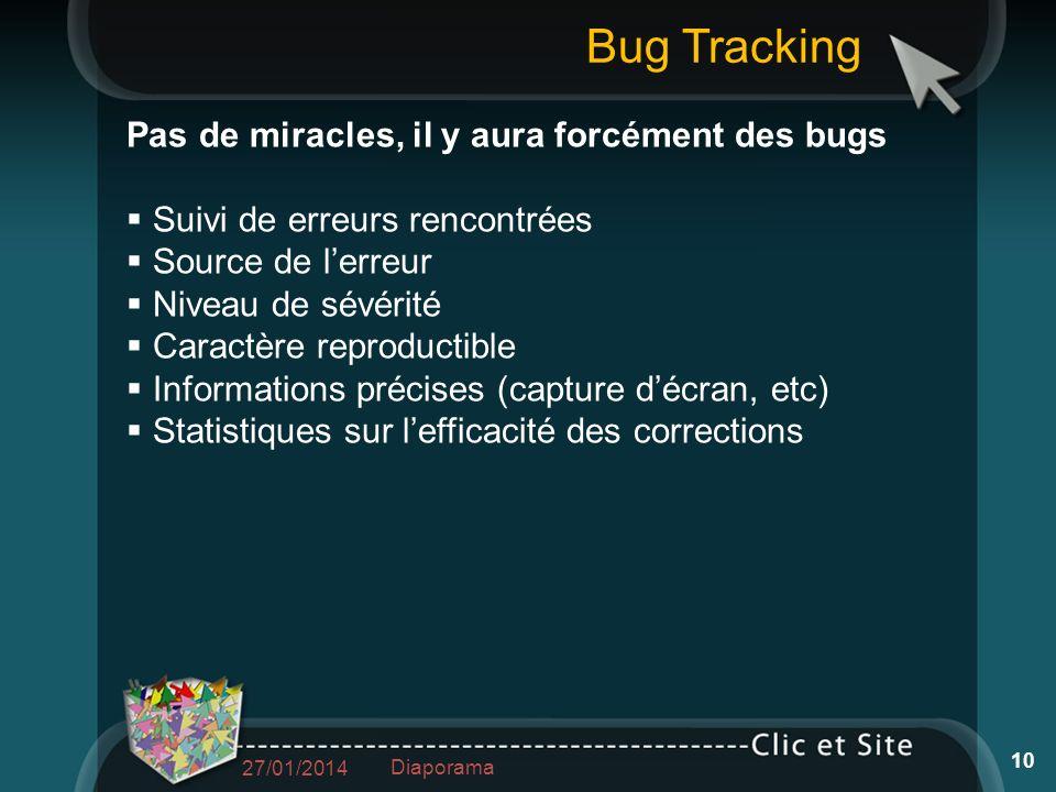 Pas de miracles, il y aura forcément des bugs Suivi de erreurs rencontrées Source de lerreur Niveau de sévérité Caractère reproductible Informations p