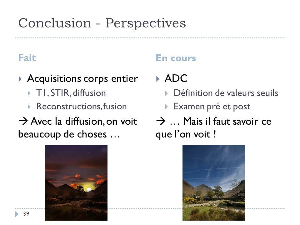 Conclusion - Perspectives Fait En cours Acquisitions corps entier T1, STIR, diffusion Reconstructions, fusion Avec la diffusion, on voit beaucoup de c